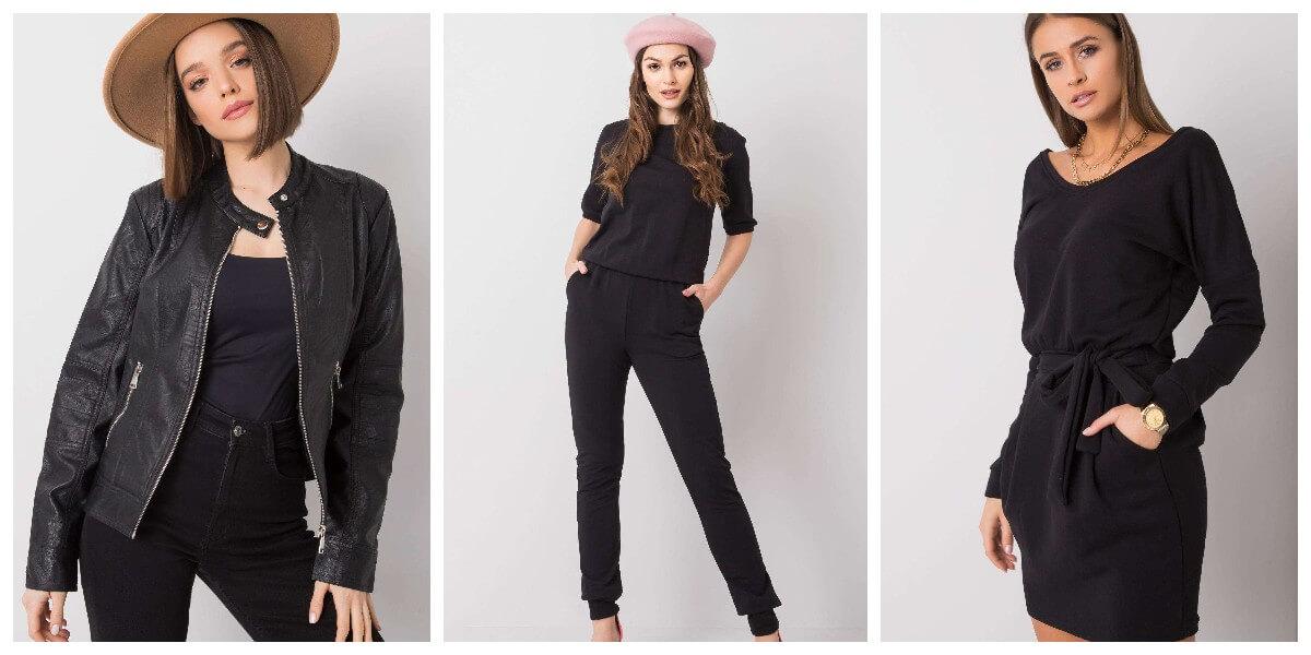 Czarne ubrania damskie hurtowo