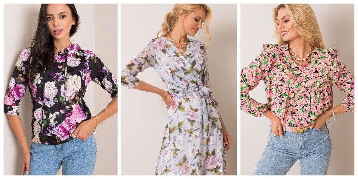 Damskie ubrania w kwiaty hurtowo