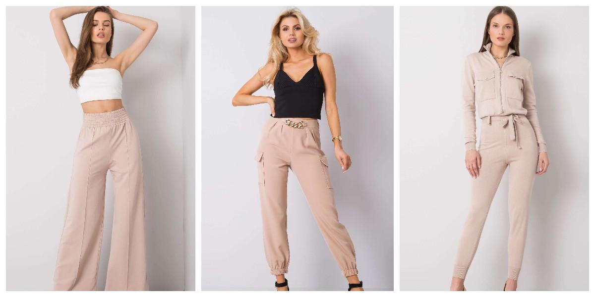 Beżowe spodnie damskie