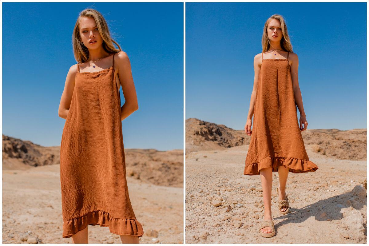 Klasyczne odcienie brązu w modzie - sukienka na ramiączkach z falbaną