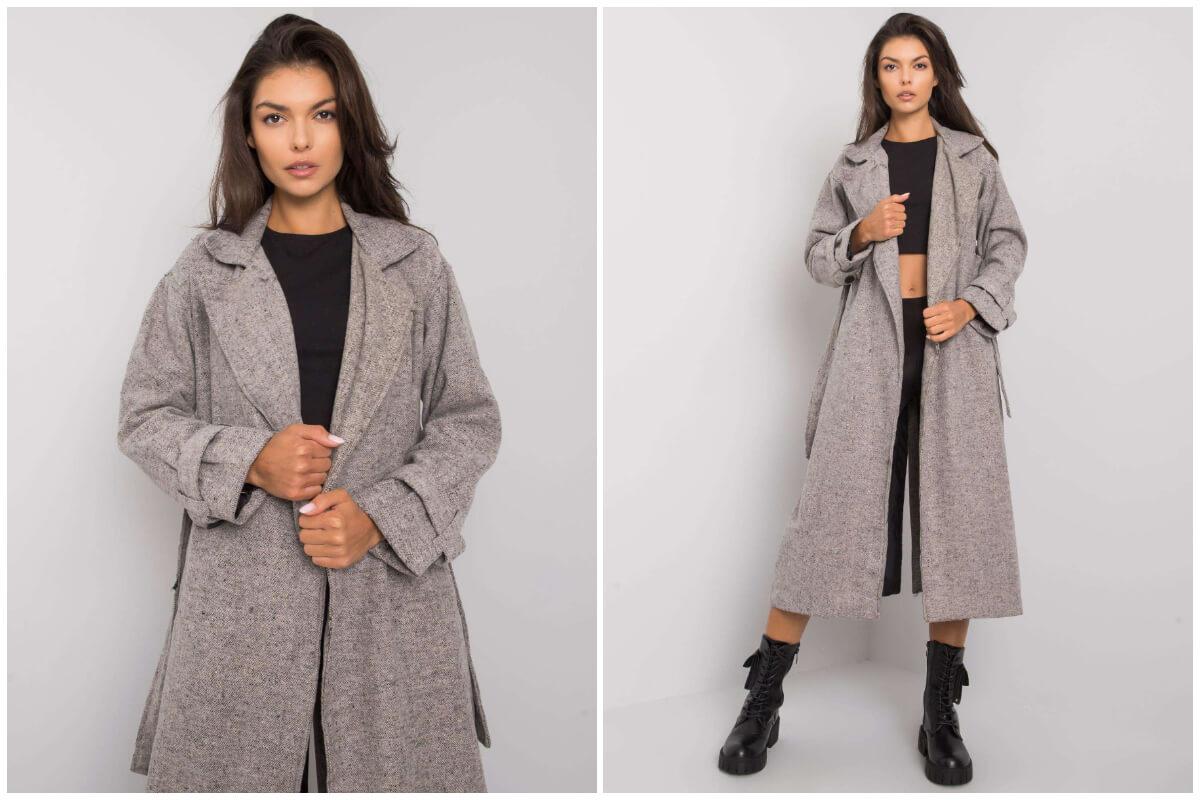 Hurtownia kurtek damskich na jesień - szary długi płaszcz