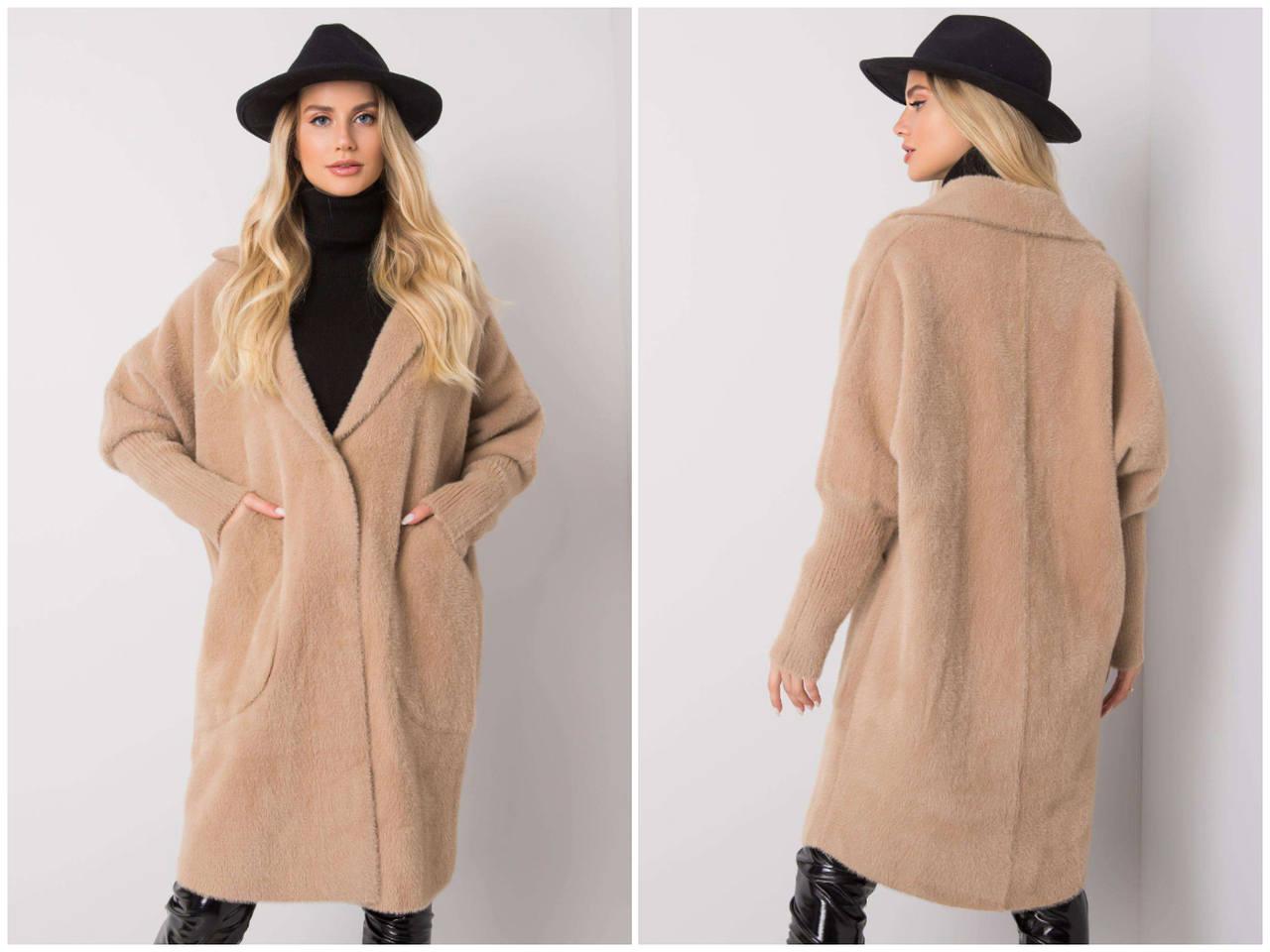 Płaszcz alpaka w hurcie online - krótki beżowy płaszcz