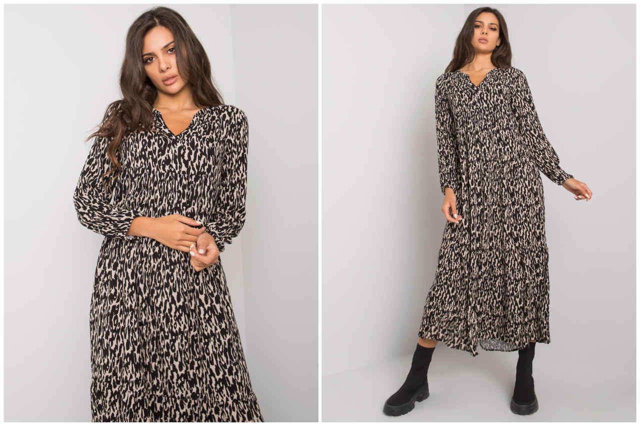 Sukienki damskie na jesień w hurcie - wzorzysta maxi z długim rękawem z szyfonu