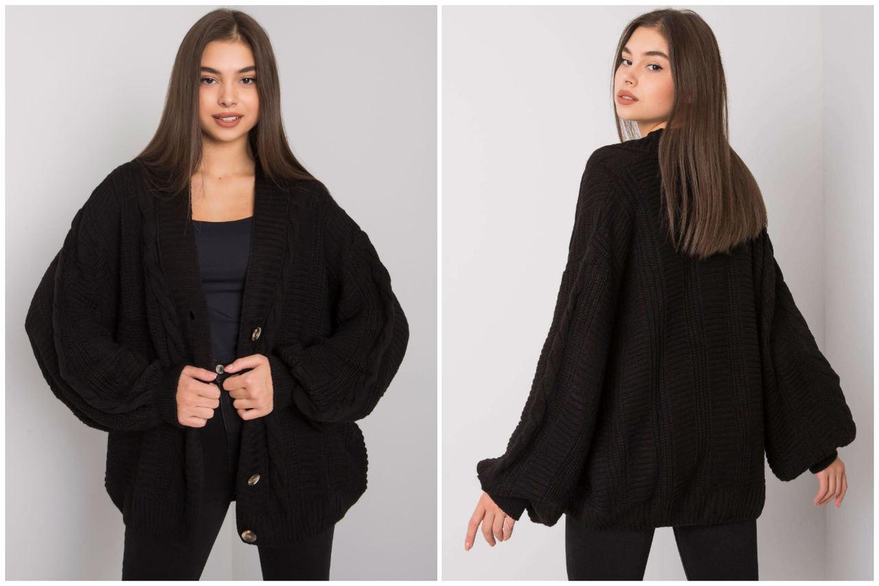 Swetry damskie hurt - czarny krótki kardigan
